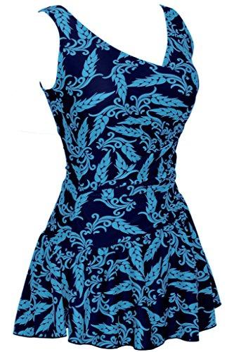 Damen Retro Badekleid mit Ährendruck Einteiliger V Ausschnitt Badeanzug mit Röckchen Hellblau