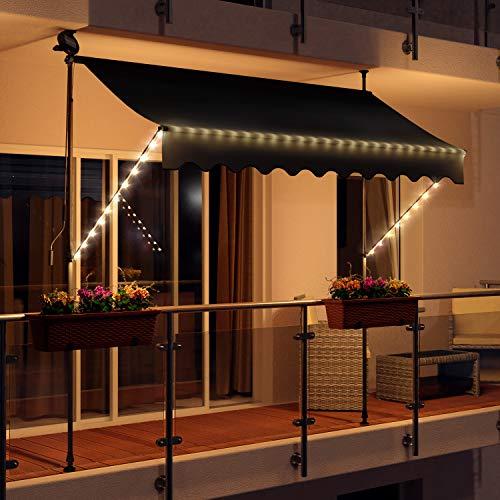 Swing & Harmonie LED - Markise mit Kurbel Klemmmarkise Balkonmarkise mit Beleuchtung und Solarmodul Fallarm Markise Sonnenschutz Terrasse Balkon (350x150, anthrazit)
