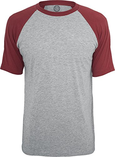 R.E.D. by EMP Raglan Contrast Tee T-Shirt grau/burgund Grau/Burgund