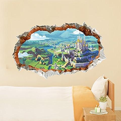 shangyi PVC Cartoon Château Paysage Tale 3D Sticker mural pour chambre à coucher, salon, bébé enfant enfants Chambre, 58 * 94.8cm