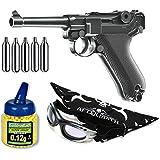 Pack Pistola airsoft Umarex U25874. P08 Legends. Calibre 6mm. Potencia 2 Julios + Gafas antivaho + Biberon 1000 bolas + bombonas Co2