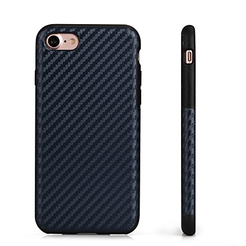 iPhone 8 Plus iPhone 7 Plus Schutzhülle Hülle Back Hard Cover Case TPU Bumper in Carbon Optik in Blau von VAPIAO Blau