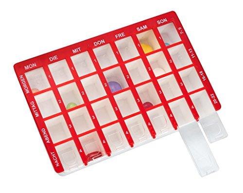 Pillendose Arzneikassette 7-Tage, 1 Woche, Rot - Tablettenbox Pillenbox