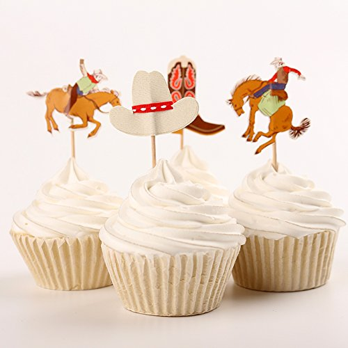 Fumee 24 Cupcake Topper Jungen favoriat Fruit Picks Kuchen dekorieren Werkzeug für Party Supplies Western Cowboy (Cowboy Party Supplies)