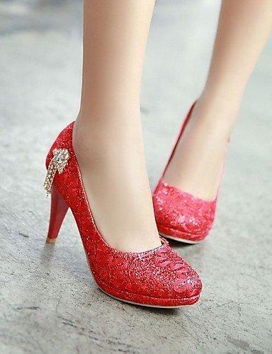 ShangYi Chaussures Femme - Mariage / Bureau & Travail / Habillé / Soirée & Evénement - Rouge / Argent / Or - Talon Aiguille -Talons / Bout Silver