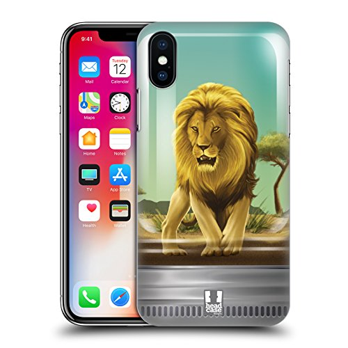 Head Case Designs Panda Coccoloso Animali In Barattolo Cover Retro Rigida per Apple iPhone X Leone Fiero