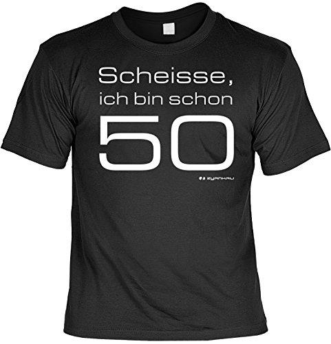 Geburtstags-Fun-Shirt-Set inkl. Mini-Shirt/Flaschendeko: Scheisse, ich bin schon 50 Schwarz