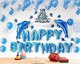 Geburtstagsdeko Geburtstag Dekoration Set Deko Zubehör Happy Birthday, Kindergeburtstag Deko, Geburtstagsparty Dekoration Happy Birthday Wimpelgirlande für Mädchen und Jungen Jeden Alters (Blau)