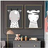 Juabc Minimalistischen Cartoon Bilder Von Niedlichen Tieren Für Kinder Foto Leinwand Malerei Wandbilder Kinderzimmer Kinderzimmer Decor-50x70cmx2 Kein Rahmen