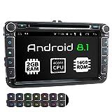 XOMAX XM-11GA Autoradio con Android 8.1 adatto per VW SEAT SKODA I Quad Core, 2GB RAM, 16GB ROM I Navigatore GPS I Supporto WIFI, 4G, DAB, OBD2 I Bluetooth I Touch Screen 8'' I DVD, CD, USB, SD, RDS