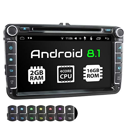 XOMAX XM-11GA Autoradio passend für VW, SEAT, Skoda mit Android 8.1 I 4Core I GPS Navigation I DVD, CD, USB, SD I Support: WiFi 4G, DAB+, OBD2 I Bluetooth I 8 Zoll / 20,3 cm Touchscreen