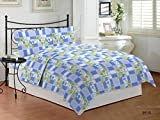 Bombay Dyeing Floral Polycotton Double Bedsheet With 2 Pillow Covers Blue