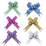 YeahiBaby 100 UNIDS Mariposa Tire Arcos Cintas de Brillo Cadena Arcos para Envoltura de Regalos Cesta de la Flor Decoración del Coche de Boda (Colores Surtidos)