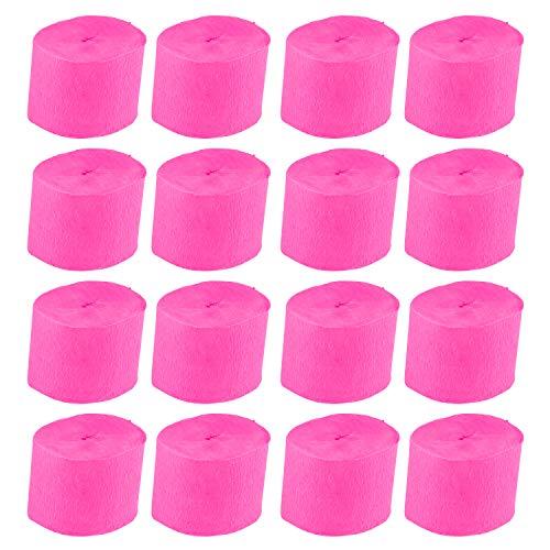 Streamer - 16-Packung Papier Partei Streamer Rolls für die Trauung, Festival, Geburtstag Party, Veranstaltungen Dekoration, 1,5 Zoll breit, 78,7 Meter lang Hot Pink ()