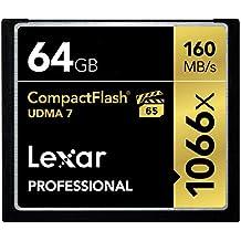 Lexar LCF64GCRBEU1066 - Tarjeta de memoria Profesional Compact Flash de 64 GB (con hasta 160 MB/s, Clase UDMA 7, velocidad de 1066x)