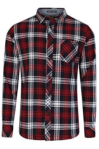 Para hombre Tokyo Laundry Carlsson diseño de cuadros de franela cepillado algodón camisa de leñador rojo rojo oscuro XXL