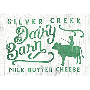 Schablone Altes Farm Schild mit Kuh und Aufschrift – Milk Butter Cheese