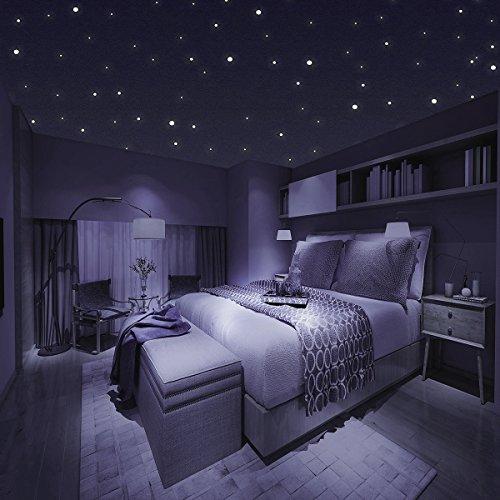 ... Homery Sternenhimmel 300 Leuchtpunkte Selbstklebend Mit Starker  Leuchtkraft, Fluoreszierende Leuchtsterne Wandtattoo U0026 Wanddeko Aufkleber  Für