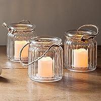 Set di 3 Candele LED a pile in vasetti di vetro di Lights4fun