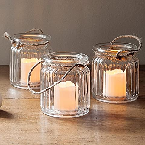 Set of 3 Glass Battery Operated LED Votive Candle Lantern Jars by Lights4fun