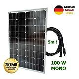 VIASOLAR 100W 12V monokristallin Solarmodule deutsche Solarzellen 5m Kabel