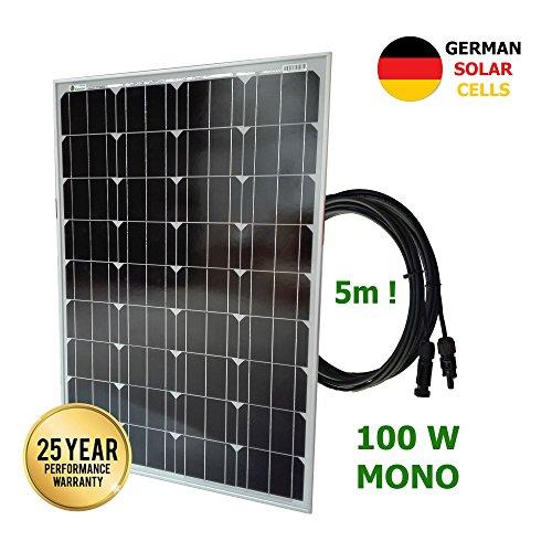 Panel solar monocristalino 100W 12V células alemanas cable 5mPanel ideal para su autocaravana, caravana, barco, etc. Este panel solar de 12 voltios es lo suficientemente potente como para mantener su batería cargada durante largos períodos de tiempo ...