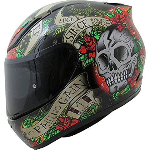 MT Revenge Skull & Roses Motorcycle Helmet M Black Red