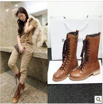 &zhou femme automne/hiver chaud en cuir bottes mode d'amorçage marée Martin loisirs anti-dérapants Brown