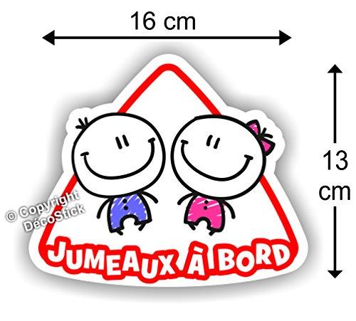 Jumeaux à bord Fille / Garçon - Sticker Autocollant bébé à bord modèle 2