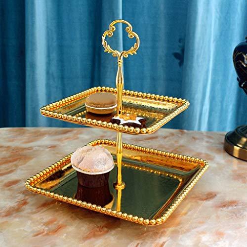 SLH Quadratische Europäische Dessertteller Zweistöckige Obstteller Hochzeit Snack Stand Nachmittagstee Set Getrocknete Früchte Platte Alloy Cake Plate (Color : Gold) (Getrocknete Geschenk-körbe, Früchte)