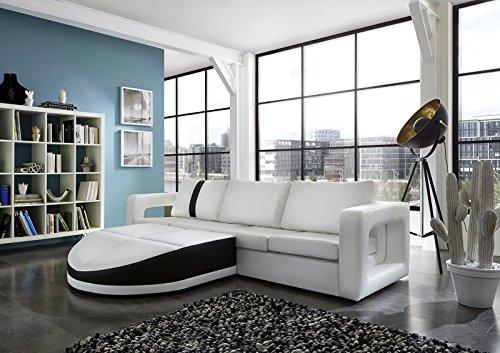 SAM® Sofa Garnitur weiß Doccia schwarzer Streifen 200 x 270 cm links designed by Ricardo Paolo futuristisch Wohnzimmer Sofa Landschaft Federkernpolsterung pflegeleichte Oberfläche