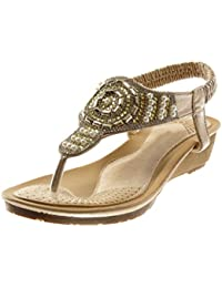 b737b7dd43a1e Angkorly Chaussure Mode Sandale Tong Slip-on Salomés Femme Strass Diamant  Perle Talon Compensé 4.5