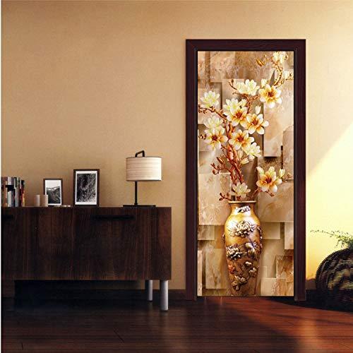 HFYHDUGJG Goldene Vase Floral Chinesischen Traditionellen Dekoration 3D Tür Aufkleber DIY Wohnkultur Kunstwand Vinyl Tapete Aufkleber Großhandel