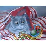 Niko: Kater unter der Bettdecke - Kartäuserkater spielt mit einem Ball - Katzenportrait - Original - Airbrush