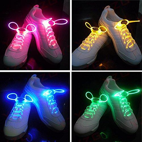 Pixnor LED lampeggiante lacci delle scarpe di Shining - 4 pairset (blu verde rosa giallo)
