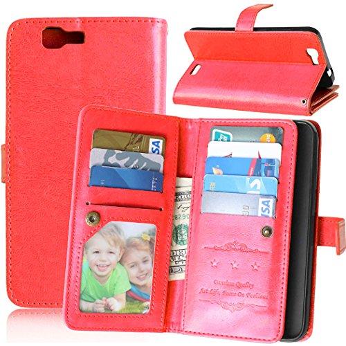 JDDRCASE für Handys Fall, Farbe Premium PU Leder Wallet Magnetic Schnalle Design Flip Folio Schutzhülle Bezug integrierte 9Card Slots & Ständer für Huawei Ascend G7