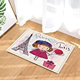 SRJ2018 Navidad Paris Decor Cartoon Girl y Torre Eiffel con Caja de Regalo Alfombras de baño
