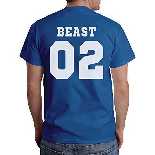 Pärchen T-Shirt Motiv Beauty & Beast Mit WUNSCHNUMMER T-Shirt Blau