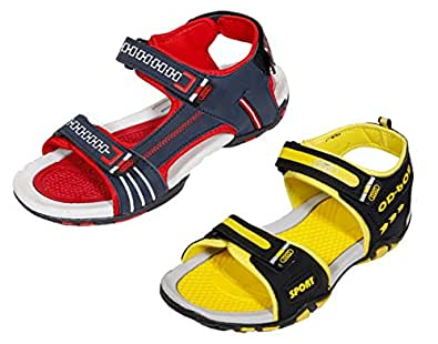 Indistar Mens Lightweight, Soft and Comfortable Casual Sandals(Pack Of 2)-Yellow::Red-Size-9