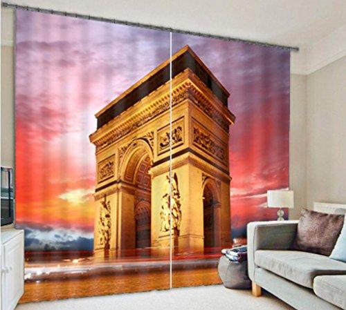 Vorhänge 3D Gebäude Stadt Nachtansicht Schlafzimmer Personalisierte Dekoration Blackout Solid Thermal Window Drapes , wide 2.20x high 1.80