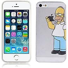 Fundas para iPhone 5 SE 5S Simpson Homer Comer Manzana Carcasa Case Gel Transparente con diseño personalizado, Cover Silicona TPU iPhone 5 5S SE con Figura dibujos animados de Alta Resistencia y Flexibilidad kaser