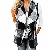❀ZEZKT❀ Weste Damen ärmellose Plaid Revers Jacke Lässig Warm Strickjacke Wintermantel Drehender Kragen Outwear Gilet Weste Plaid (XL, Schwarz)