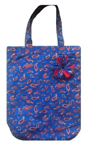 Bleu Paisley réutilisable Cabas/sac de plage