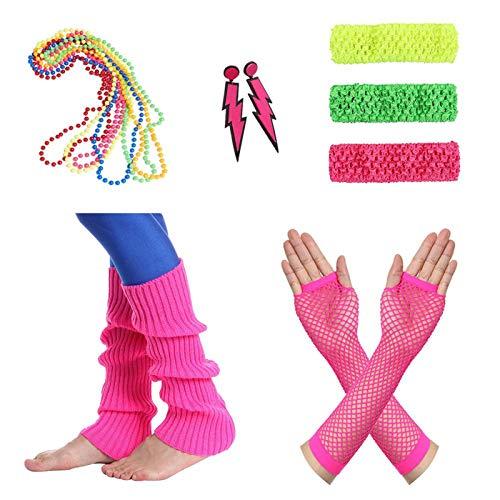 80er Damen Neon Beinstulpen Halsketten Fischnetz Handschuhe Stirnband Ohrringe Verkleiden Kostüme (Mehrfarbig) Halloween (80's Kostüm Beinstulpen)