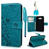 #9: Galaxy Grand Prime G5308 G530H Case- MOLLYCOOCLE Stand Wallet ID Holders Emboss Vintage Flower Flip Folio TPU Soft Bumper PU Leather Skin Cover for Samsung Galaxy Grand Prime G5308 G530H -Hot Pink Bule