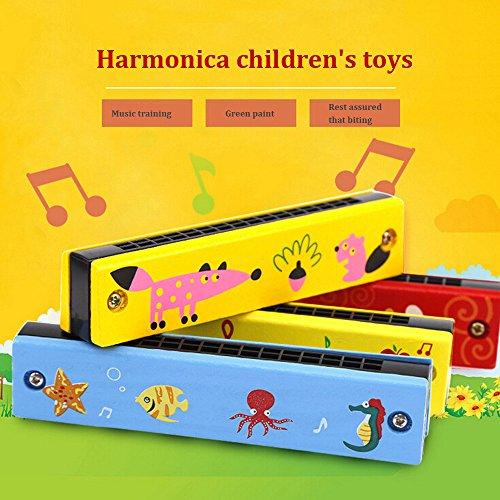Pottoa Farbige Kinder aus Holz Spielen Mini Kinder Mundharmonika Kleinkinder Spielzeug Cartoons Spielzeug Bildung Spielzeug 3 Jahre Pädagogisches Spielzeug