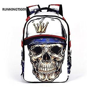 3D Skeleton Skull Cool School Backpack Travel Bag Leisure Bag Casual Bookbag Shoulder Bag Daypack Laptop Bag for Boys Teens (White)