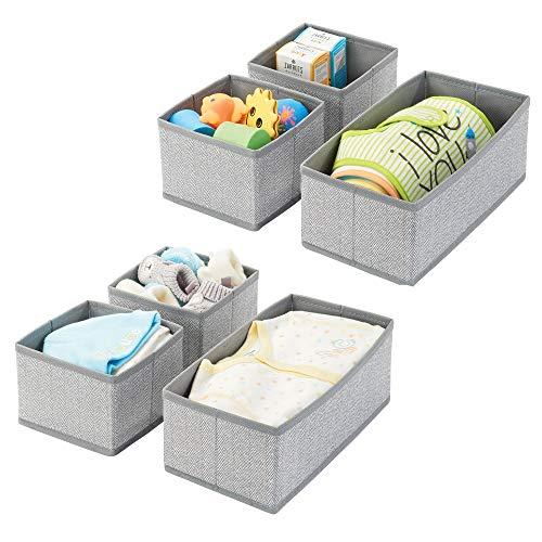 mDesign 6er-Set Aufbewahrungsbox - atmungsaktive Stoffbox mit Fischgrätmuster für Windeln, Lätzchen etc. - vielseitige Schubladen Organizer für das Kinderzimmer - grau