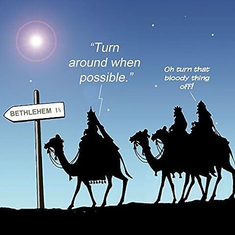 twizler Funny Merry Christmas card con cammelli, Navigatore satellitare e scheda Betlemme, Buon Natale, Cartolina (Femmina Segno)
