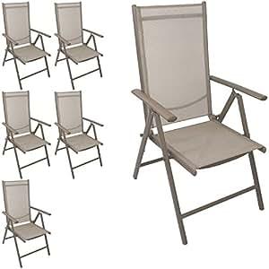 6 Stück Aluminium Hochlehner Positionsstuhl klappbar Liegestuhl mit robuster Textilenbespannung Lehne 7-Positionen verstellbar Gartenstuhl